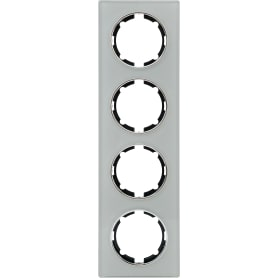 Рамка для розеток и выключателей Onekey Florence 4 поста, стекло, цвет серый