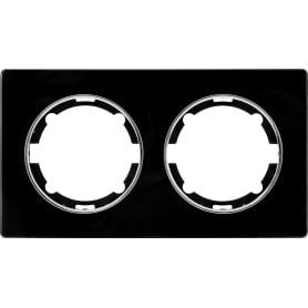 Рамка для розеток и выключателей Onekey Florence 2 поста, стекло, цвет черный
