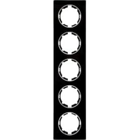 Рамка для розеток и выключателей Onekey Florence 5 постов, стекло, цвет черный