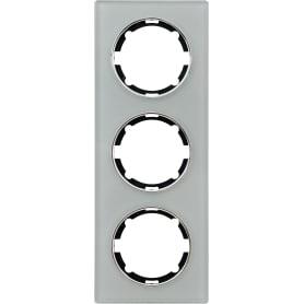 Рамка для розеток и выключателей Onekey Florence 3 поста вертикальная, стекло, цвет серый
