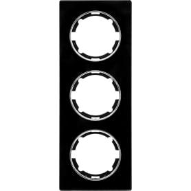 Рамка для розеток и выключателей Onekey Florence 3 поста вертикальная, стекло, цвет черный