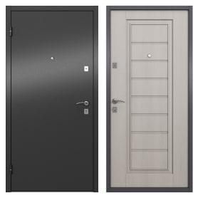 Дверь входная металлическая Альта, 860 мм, левая, цвет графит/белое дерево