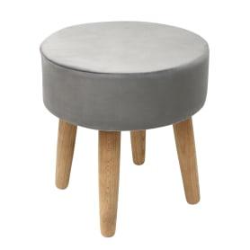 Табурет с мягкой обивкой, круглый, цвет серый