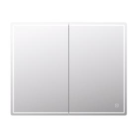 Шкаф зеркальный подвесной Look с подсветкой 100х80 см цвет белый