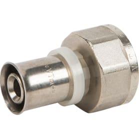 """Пресс-муфта Valtec, внутренняя резьба, 3/4""""x16 мм, никелированная латунь VTm.202.N.001605"""