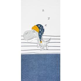 Коврик прикроватный хлопок «Сонный динозаврик» 60x120 см, цвет синий