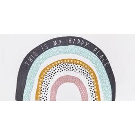 Коврик прикроватный хлопок «Дино-радуга» 60x120 см, цвет белый