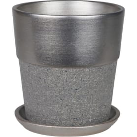 Горшок цветочный №6, ø26 см, 9.4 л, керамика, цвет серый/металлик