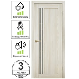 Дверь межкомнатная Artens Дукато вертикальная глухая Hardflex цвет бора (с замком и петлями) 60x200 см