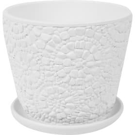 Горшок цветочный Камешки ø17.5 h15.1 см v2.15 л керамика цвет белый