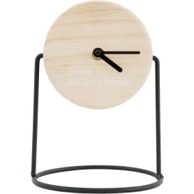Часы настольные на подставке с циферблатом из МДФ ø12 см цвет черный