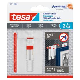 Крючки для картин Tesa регулируемые до 2 кг, цвет белый, 2 шт.