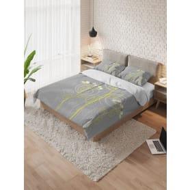 Пододеяльник с наволочками AMBESONNE «Желтое на сером» полутораспальный, микрофибра