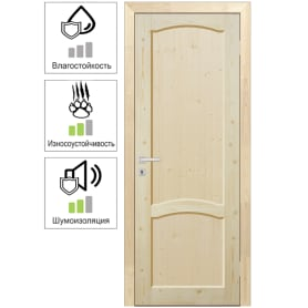 Дверь межкомнатная глухая массив дерева цвет натуральный 70x200 см