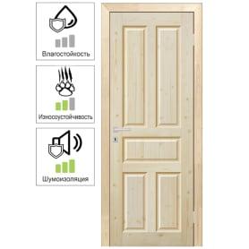 Дверь межкомнатная Кантри глухая массив дерева цвет натуральный 90x200 см