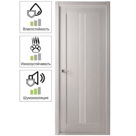 Дверь межкомнатная Челси глухая ламинация цвет ясень скандинавский 70x200 см