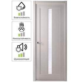 Дверь межкомнатная Челси остекленная ламинация цвет ясень скандинавский 80x200 см