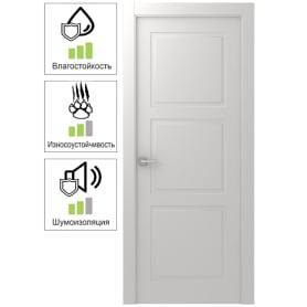 Дверь межкомнатная Британия глухая эмаль цвет белый 80x200 см (с замком)