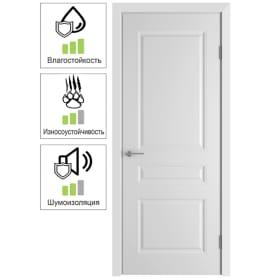Дверь межкомнатная Стелла глухая эмаль цвет белый 60x200 см (с замком и петлями)