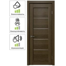 Дверь межкомнатная Дельта горизонтальная остеклённая ПВХ цвет ольха коричневая 60x200 см (с замком и петлями)