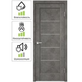 Дверь межкомнатная Сохо остеклённая ПВХ цвет лофт тёмный 60x200 см (с замком и петлями)