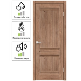 Дверь межкомнатная Тоскана глухая ламинация цвет дуб бельмонт 90x200 см ( с замком и петлями)