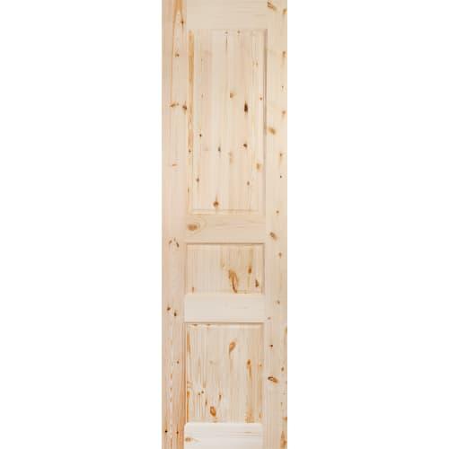 Дверь межкомнатная глухая, 3 филёнки, 60x200 см, массив сосны, цвет бежевый