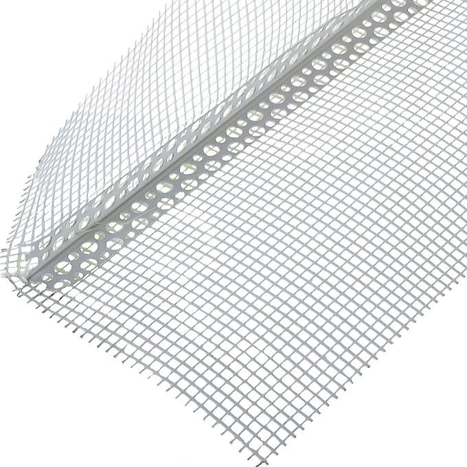 Профиль перфорированный угловой АЛБЕС ПВХ с сеткой 100х150х3000 мм