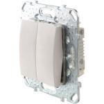 Переключатель двухклавишный в рамку Schneider Electric Unica белый