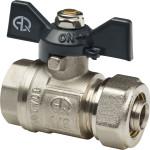 Кран шаровой для металлополимерных труб Aqualink 00875 цанга-гайка бабочка никелированный F 3/4ʺх20 В 10 бар