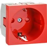 Розетка для кабель-каналов IEK ПРАЙМЕР с заземляющим контактом на 2 модуля красная