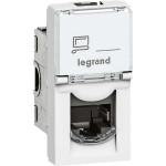 Компьютерная розетка Legrand Mosaic RJ45 5E FTP 1 модуль под рамку белая 076552