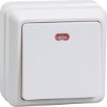 Выключатель одноклавишный IEK Октава EVO11-K01-10-DC с подсветкой открытой установки белый