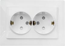 Розетка двойная с заземлением со шторками Schneider Electric Unica белая MGU23.067.18D