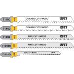 Набор полотен Fit T111C; T144D; T101B; T101BR; T101AO для электролобзика по дереву, 5 шт. 41010