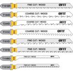 Набор полотен Fit T101D, T111Cx2, T101B, T119BO, T144Dx2, T244D, T101AO, T101 для электролобзика по дереву и металлу, 10 шт. 41013