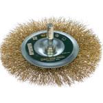 Корщетка-насадка Fit колесо со штифтом стальная латунированная волнистая проволока 100 мм