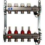 """Коллектор STOUT с расходомерами с клапаном выпуска воздуха и сливом 1"""" 3/4EK-M 4 отвода"""