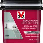 Краска моющаяся V33 Renovation Perfection для стен и мебели на кухне олива 0.75 л