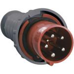 Силовая вилка IEK ССИ-035 3P+PE+N прямая с заземлением 200-415 В 63 А IP54 пластик красная