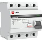 Устройство защитного отключения EKF ВД-100 PROxima 25А 100мА 4P АС электромеханический