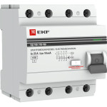 Устройство защитного отключения EKF ВД-100 PROxima 63А 100мА 4P АС электромеханический