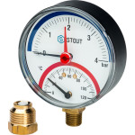 """Термоманометр радиальный STOUT 80 мм 1/2"""" 0-120°C 0-4 бар, с автоматическим запорным клапаном SIM-0006-800415"""