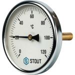 """Термометр биметаллический STOUT 100 мм с погружной гильзой 75 мм 1/2"""" 0-120°С SIM-0001-107515"""