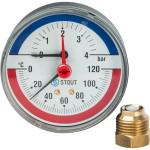 "Термоманометр STOUT 80 мм 1/2"" 0-120°C 0-4 бар, с автоматическим запорным клапаном SIM-0005-800415"