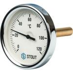 """Термометр биметаллический STOUT 80 мм с погружной гильзой 75 мм 1/2"""" 0-120°С SIM-0001-807515"""