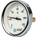 """Термометр биметаллический STOUT 80 мм с погружной гильзой 50 мм 1/2"""" 0-120°С SIM-0001-805015"""