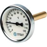 """Термометр биметаллический STOUT 63 мм с погружной гильзой 75 мм 1/2"""" 0-120°С SIM-0001-637515"""
