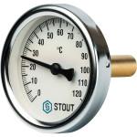 """Термометр биметаллический STOUT 63 мм с погружной гильзой 50 мм 1/2"""" 0-120°С SIM-0001-635015"""