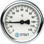 "Термометр биметаллический Stout SIM-0004-630015 D 63 мм накладная пружина 1""-2"""
